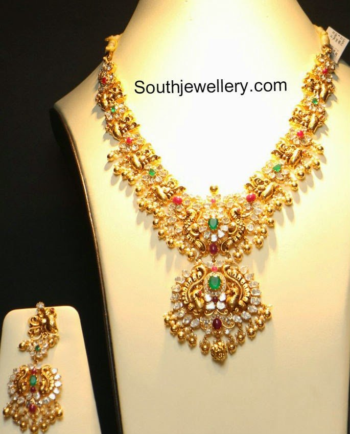 flat diamond peacock necklace