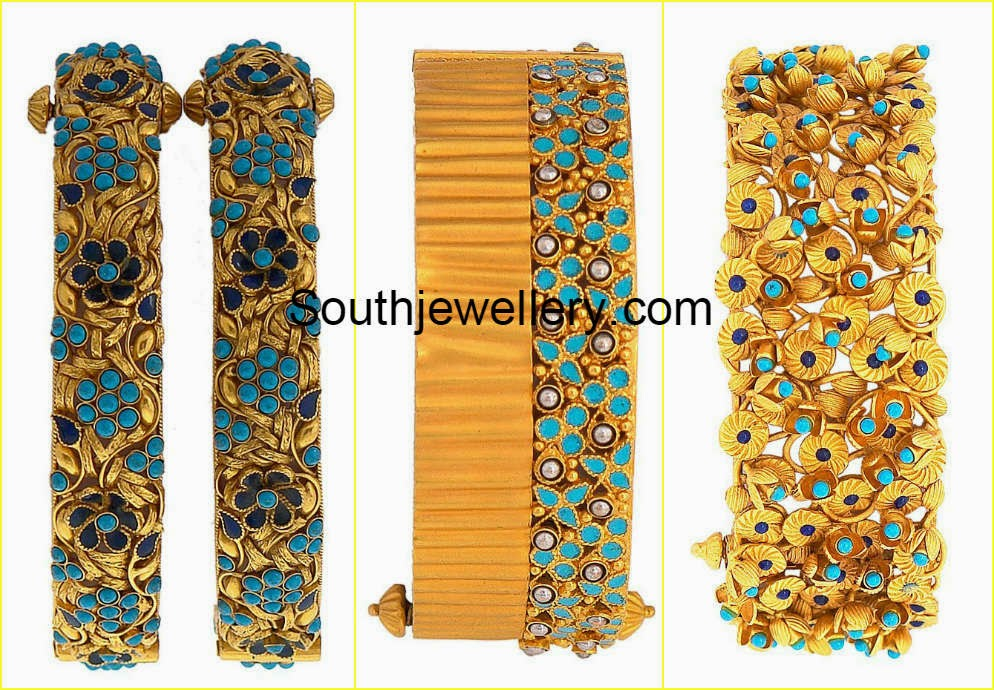 gold bangles with turquoise beads