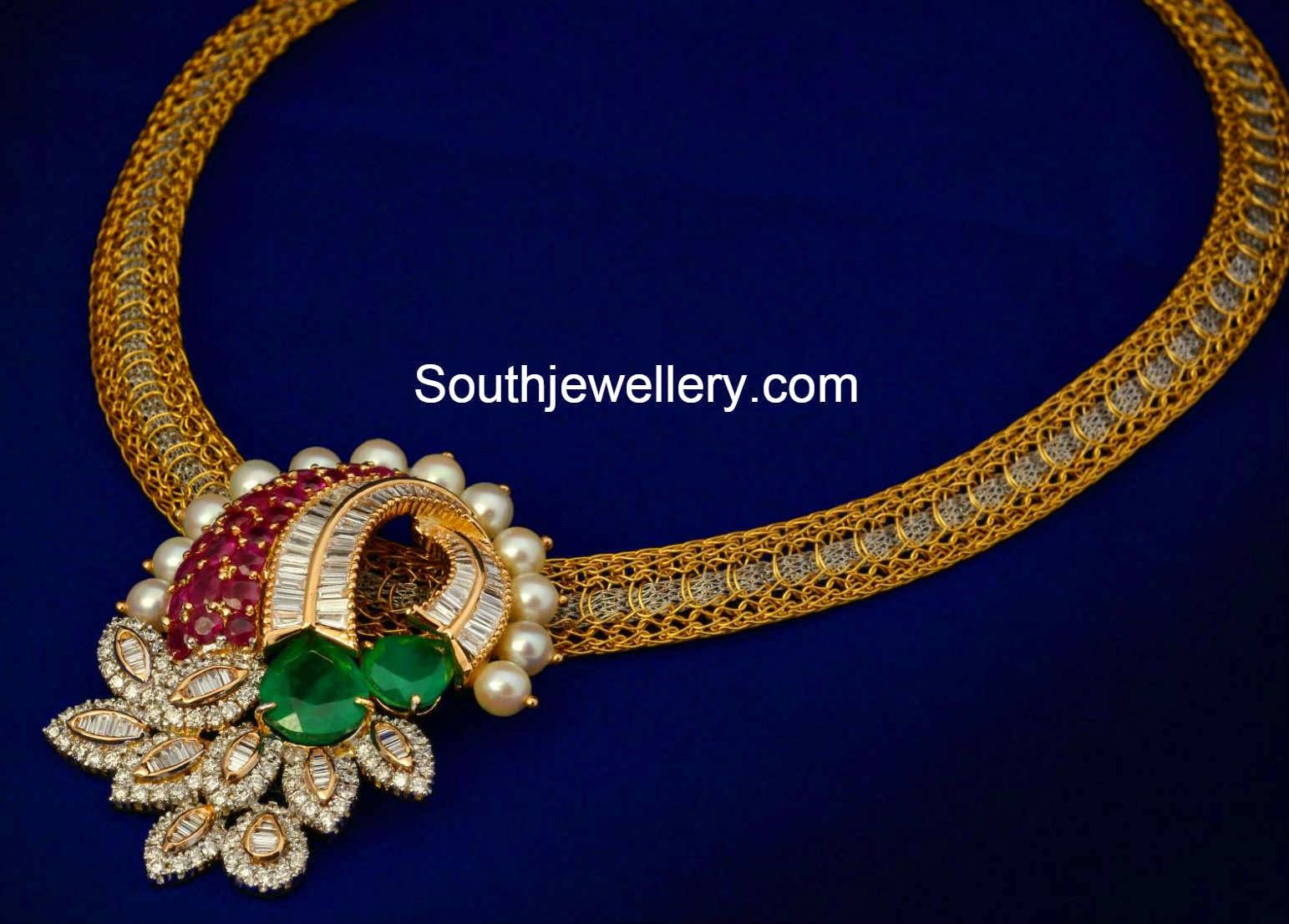 Suhasini in gundla haram jewellery designs - Gold Chain With Diamond Pendant