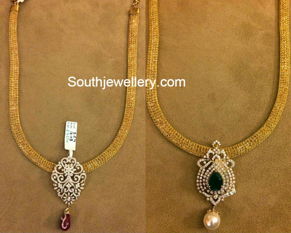 gold chain and pendants