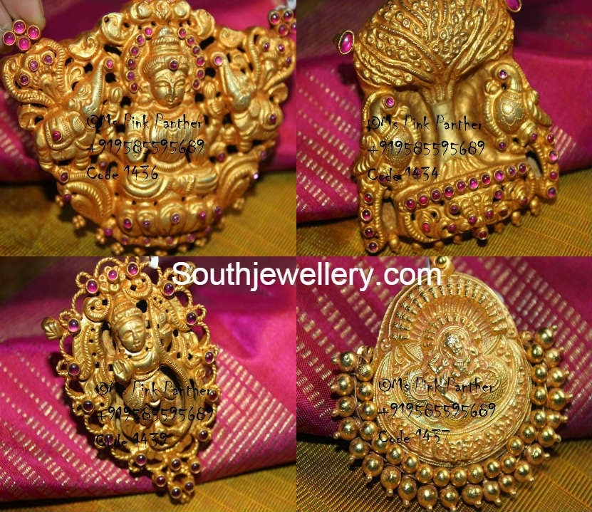 Gold Plated Silver Temple Design Pendants Jewellery Designs