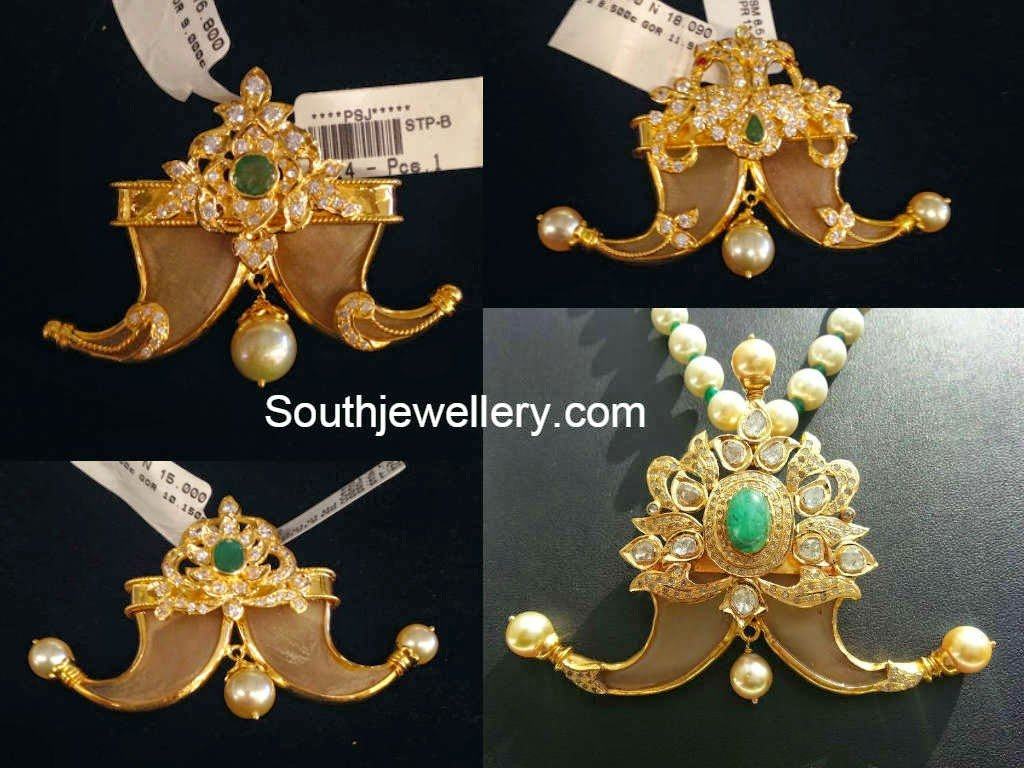 22 carat gold floral designer pendant with multiple beads chain and - Puligoru Pendants