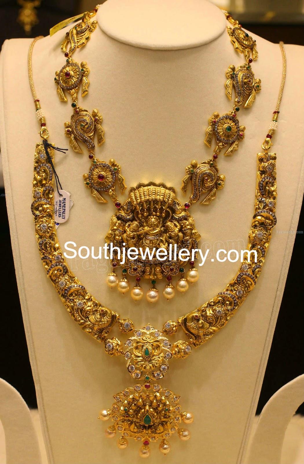 Simple Nakshi Temple Necklace Designs Jewellery Designs