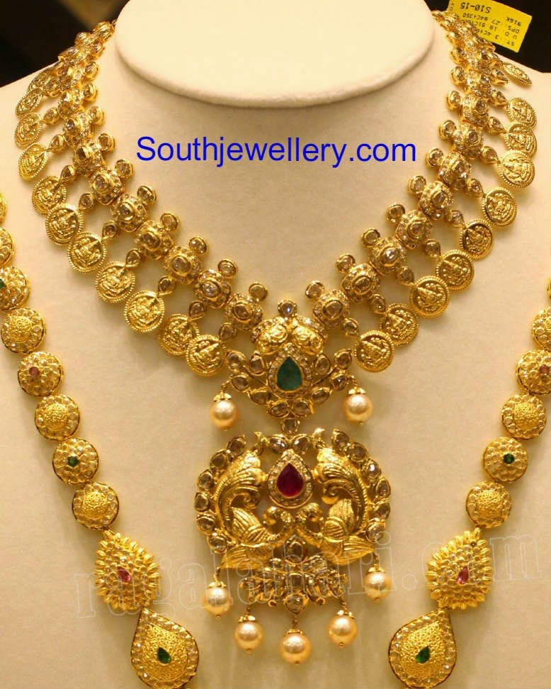 Uncut Kasu Necklace And Long Chain Jewellery Designs