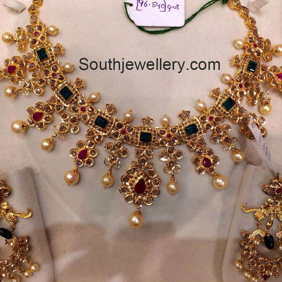 Suhasini in gundla haram jewellery designs - Uncut Pacchi Necklace With Emeralds And Rubies Jewellery Designs