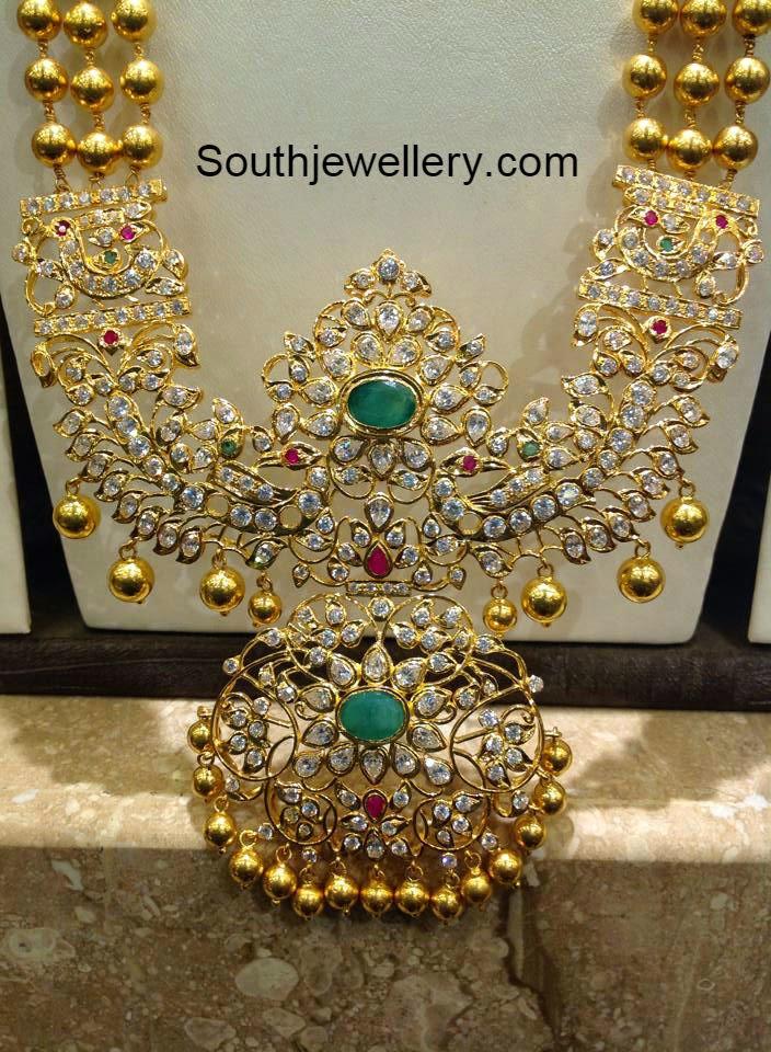 gold haram with cz stones pendant jewellery designs