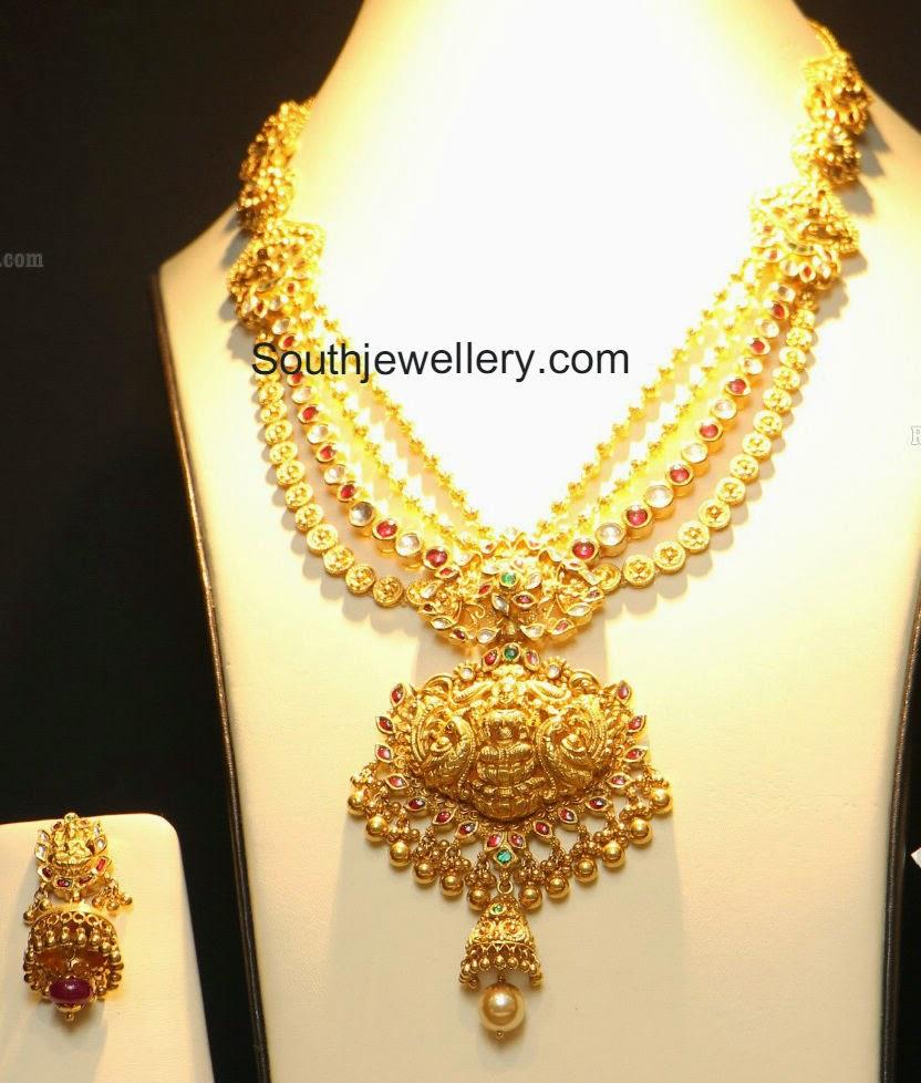 Layered Temple Necklace with Lakshmi Pendant