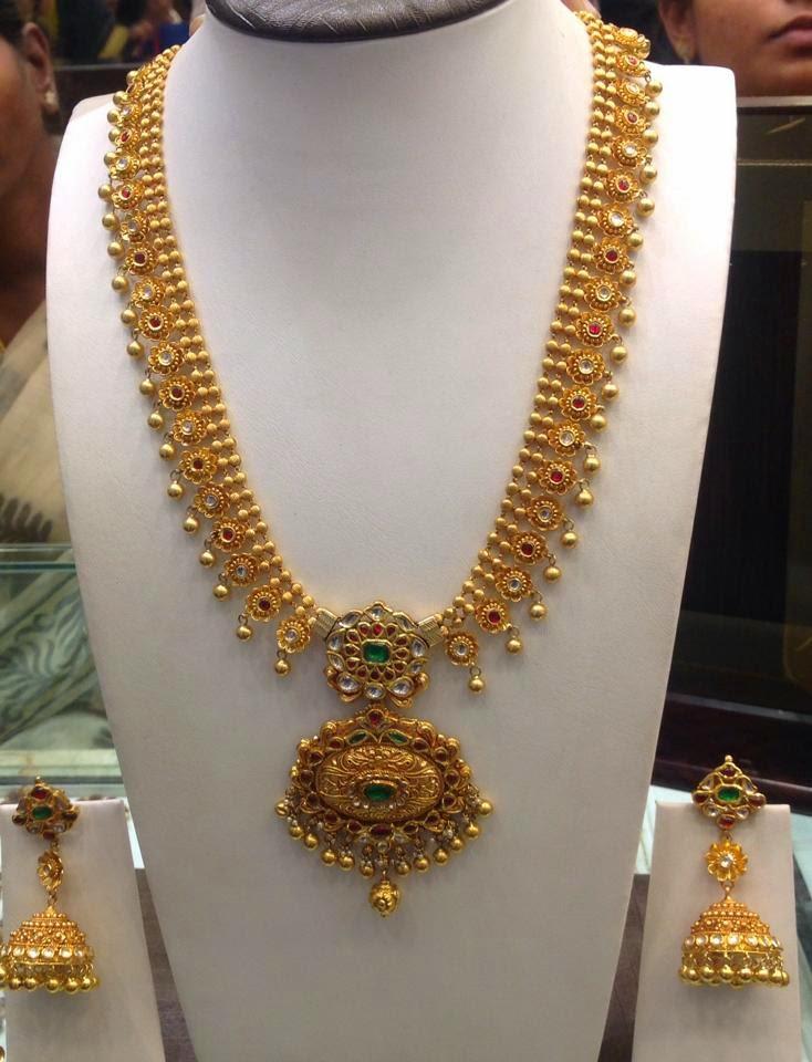 Gold Haram and Jhumkas Set - Jewellery Designs