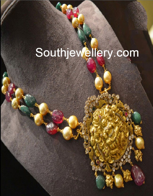 Elegant Beads Necklace with Lakshmi Pendant
