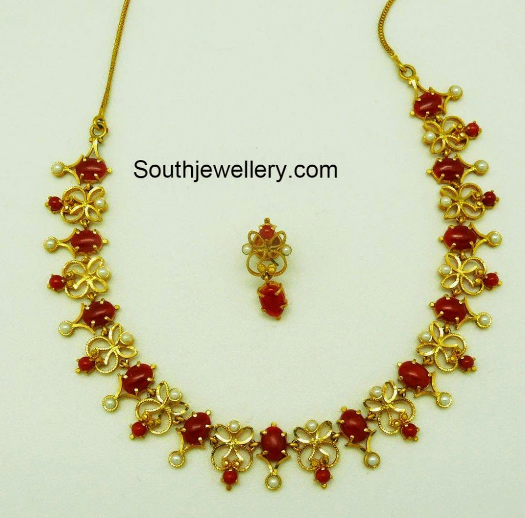 gold corals necklace