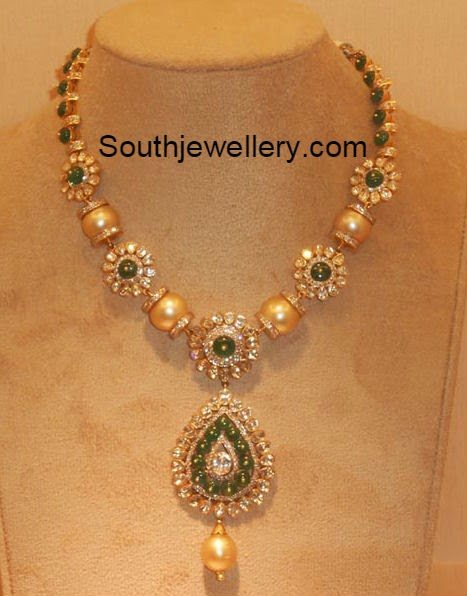 diamond south pearls necklace