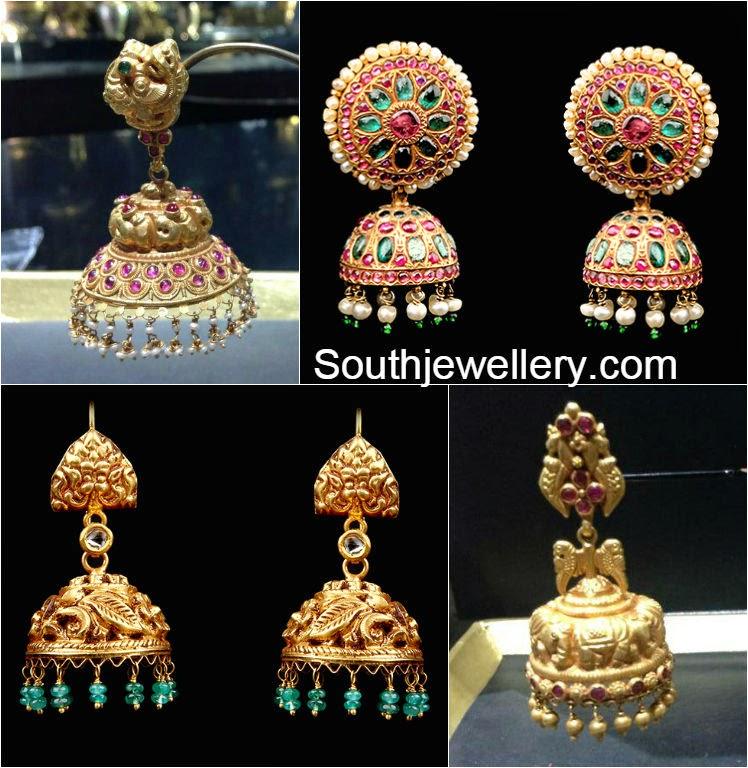 Carat gold nakshi work jhumkas studded with precious stones and beads