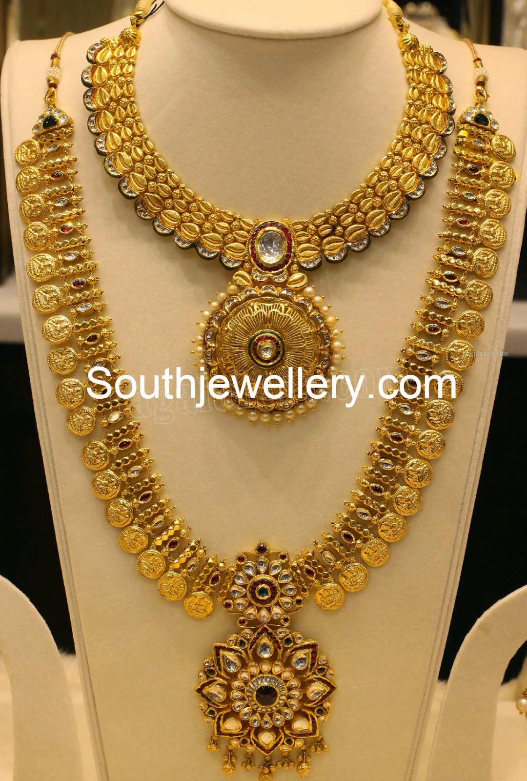 Suhasini in gundla haram jewellery designs - Lakshmi Kasu Haram
