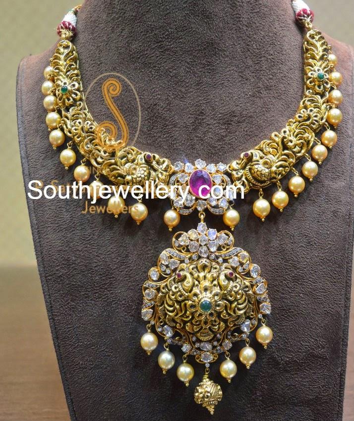 nakshi work flat diamond necklace