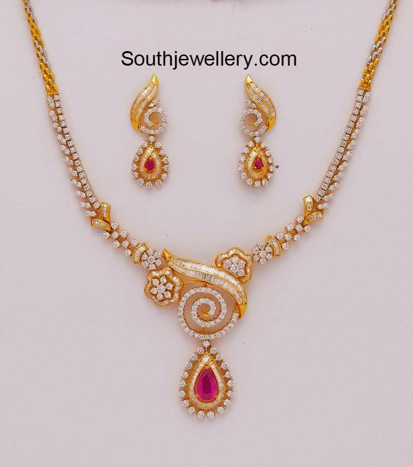 Simple Diamond Necklace Jewellery Designs