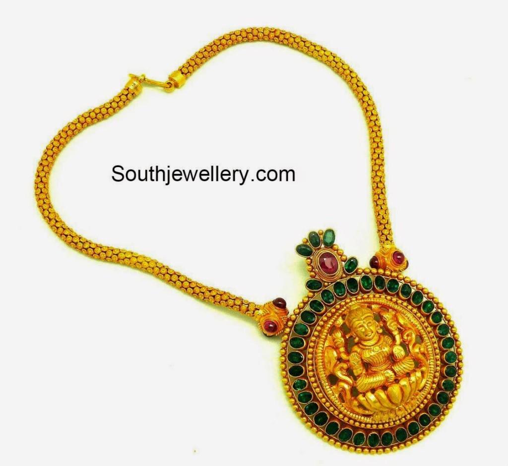 gold chain with lakshmi pendant