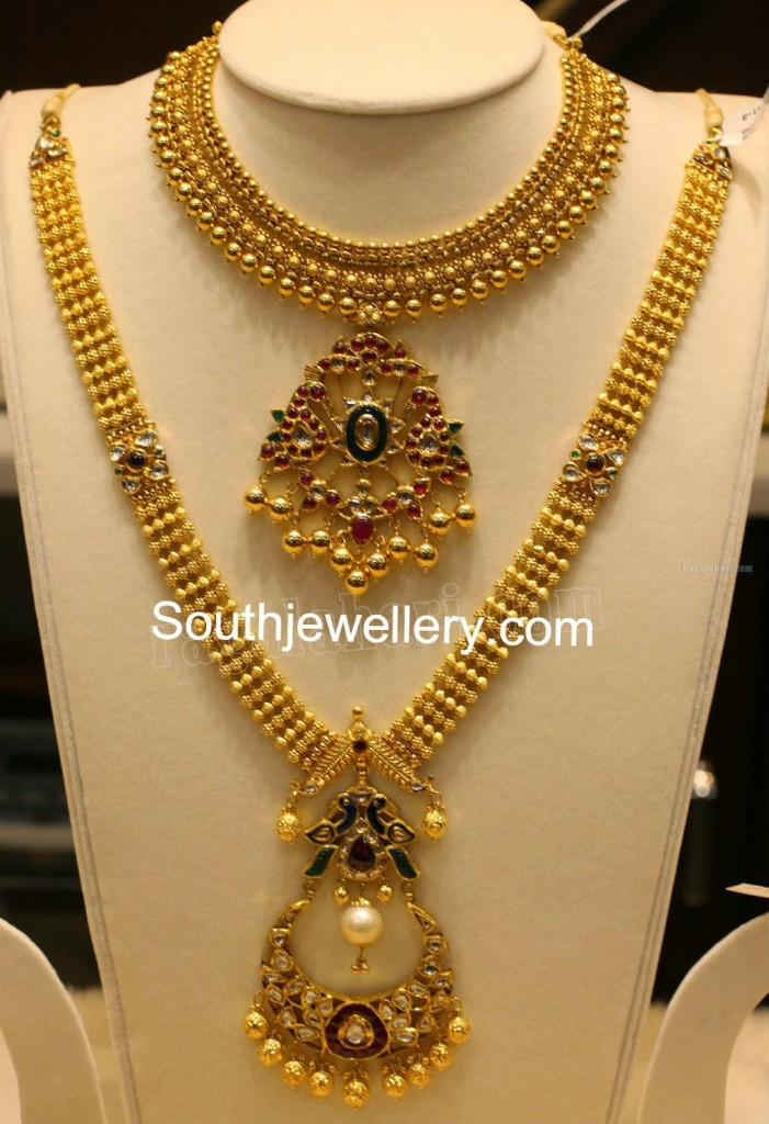 Antique Necklace And Haram Set Jewellery Designs