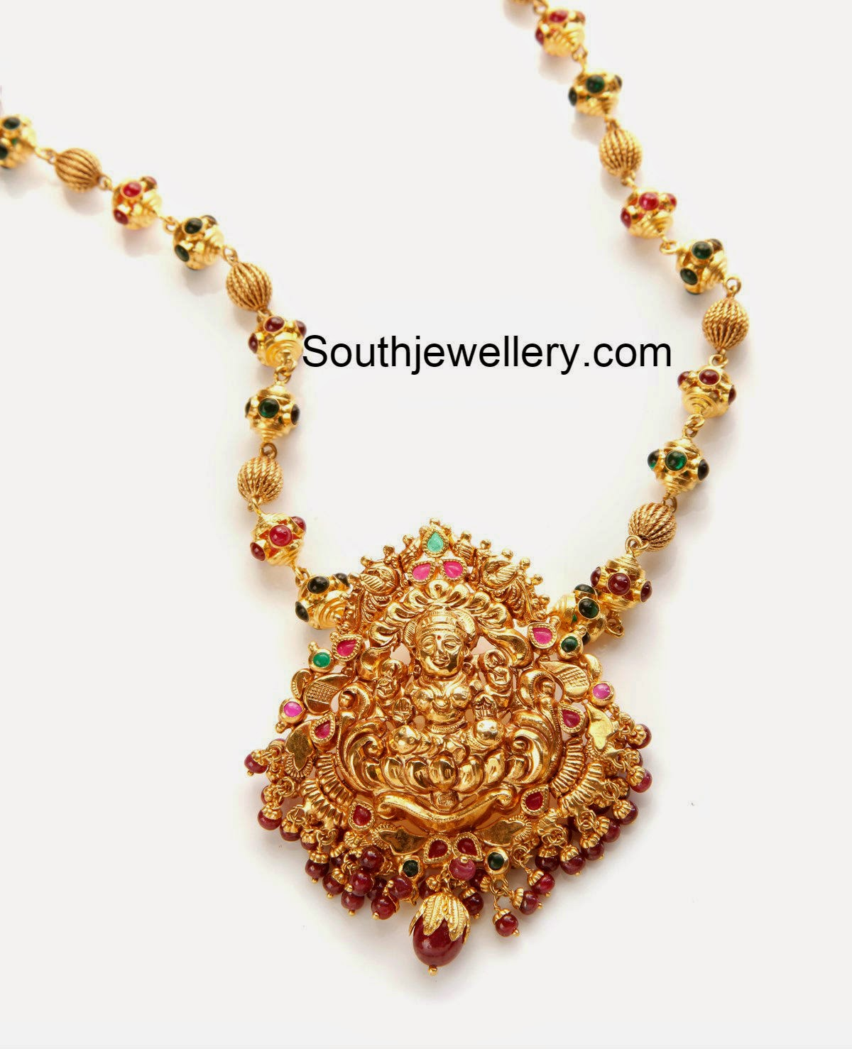 gold balls necklace with lakshmi pendant jewellery designs