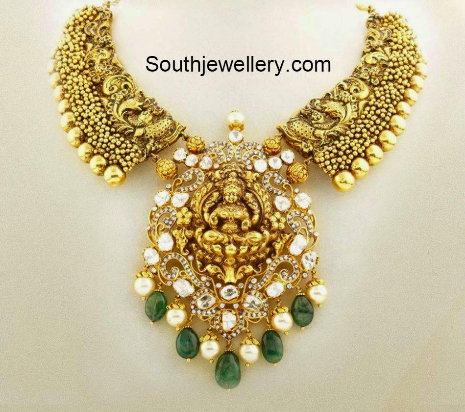 Suhasini in gundla haram jewellery designs - Antique Peacock Necklace With Lakshmi Pendant