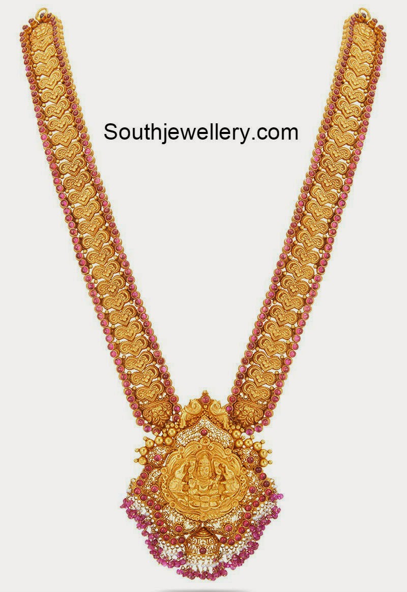 Diamond kasulaperu with pendant - Nakshi Work Gold Long Haram Jewellery Designs