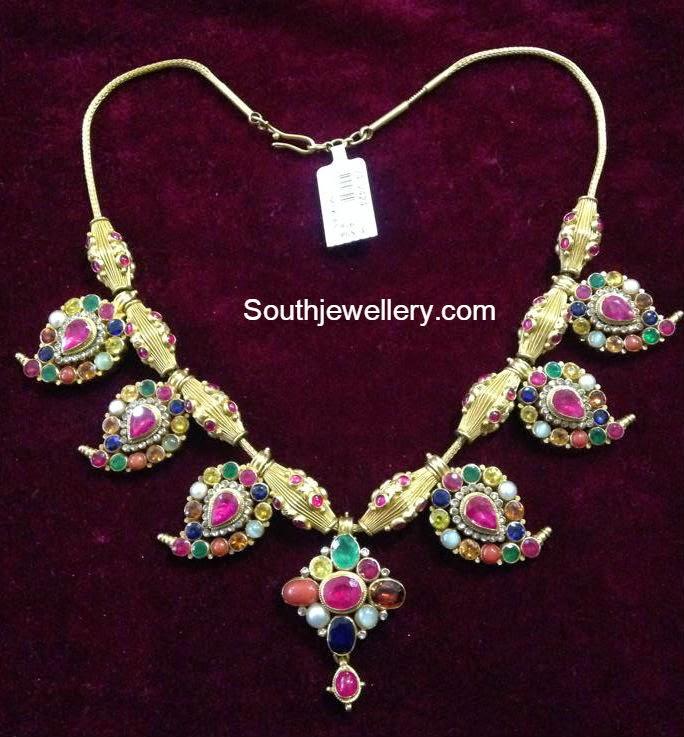navrathan mango necklace