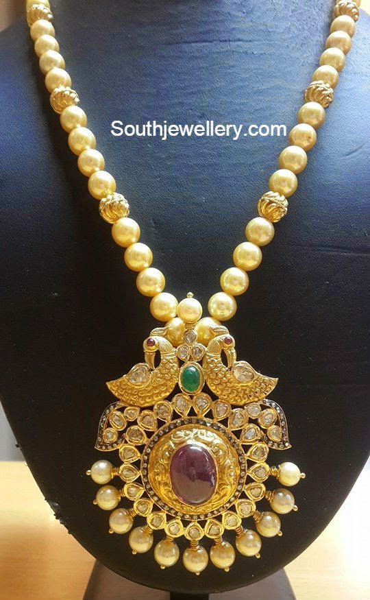 South Sea Pearls Necklace with peacock Pacchi Pendant