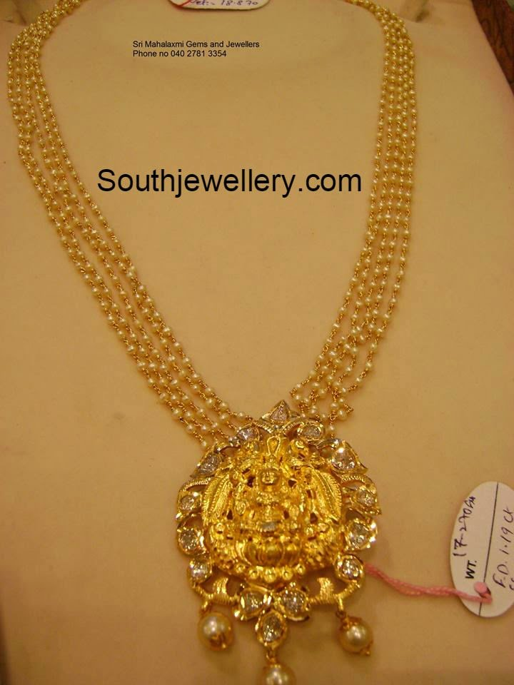 Pearls Haram with Lakshmi Pendant