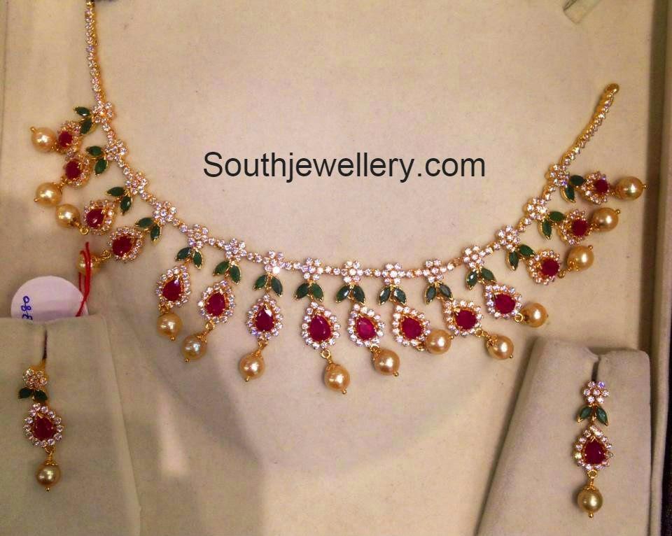 simple cz stones necklace models