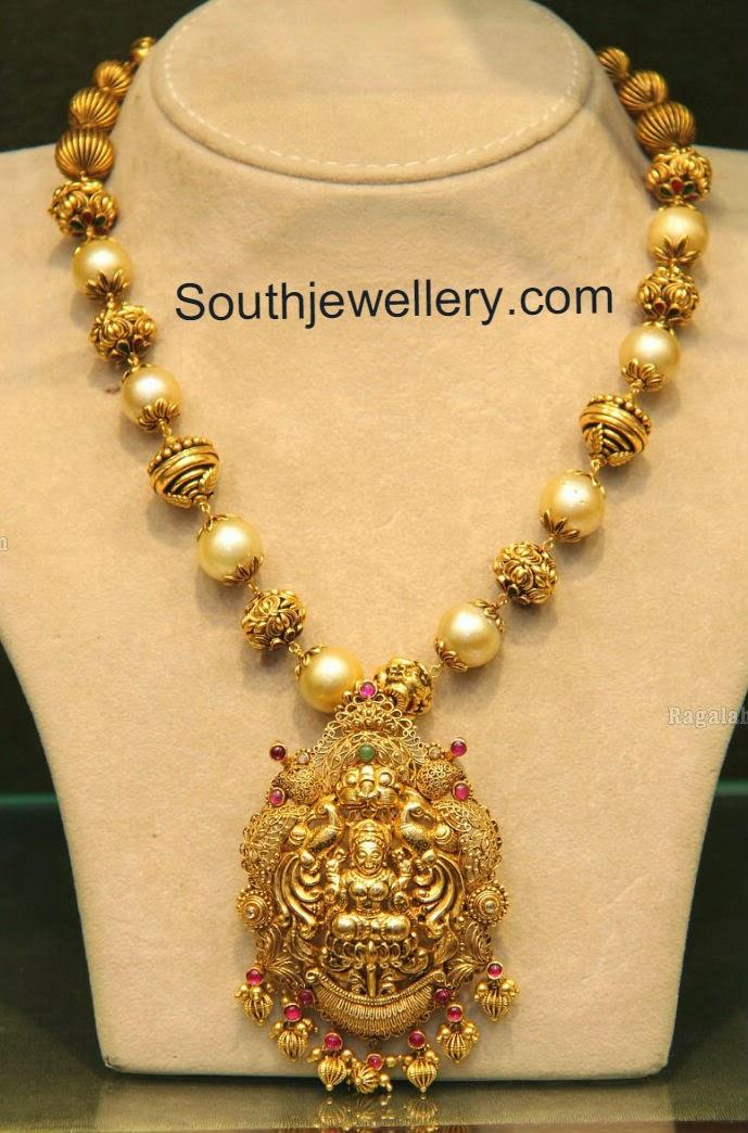 4cedfa3e395b7 South Sea Pearls and Nakshi Balls Mala with Lakshmi Pendant ...