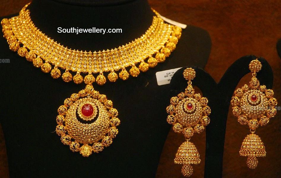 Chakri Uncut Diamond Necklace and Jhumkas