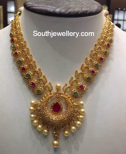 Gold necklace designs catalogue with weight
