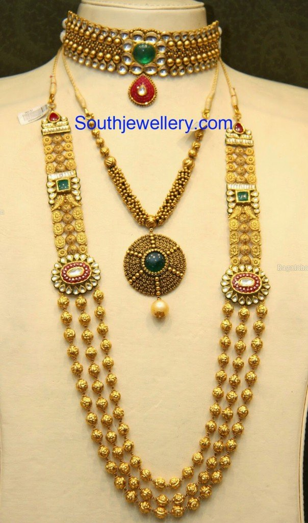 Antique Gold Choker Necklace And Haram Set Jewellery