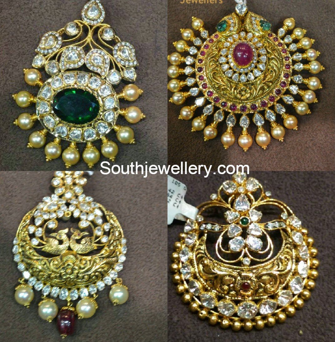 antique gold pacchi pendants jewellery designs