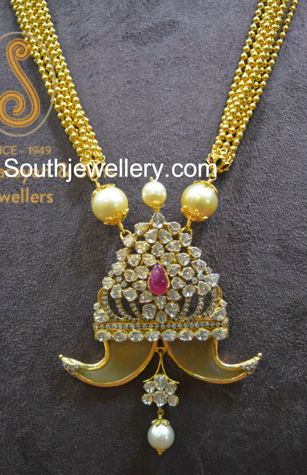 Antique Necklace With Diamond Puligoru Pendant Jewellery