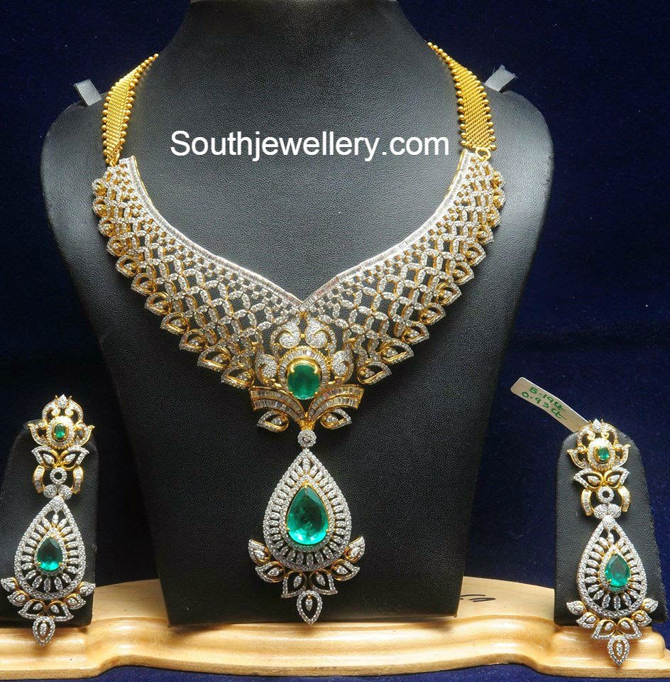 bridal diamond necklace set jewellery designs