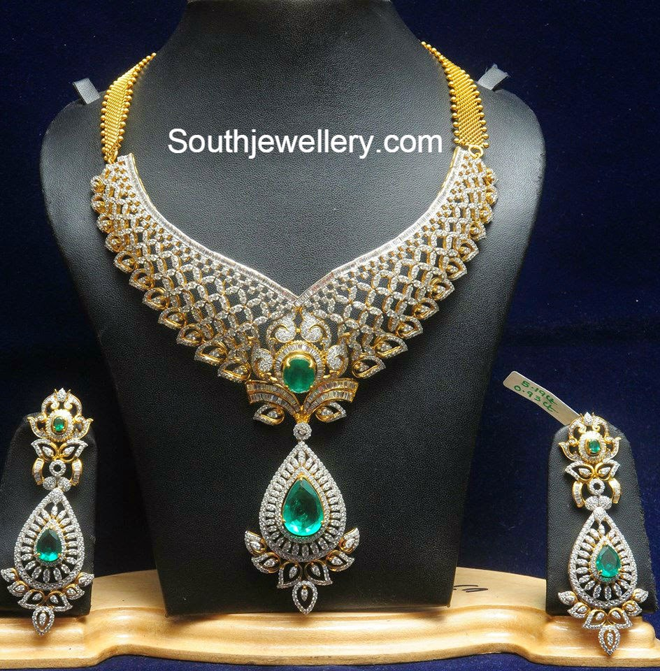 Latest Indian Bridal Jewellery Designs 2018 With Price: Bridal Diamond Necklace Set