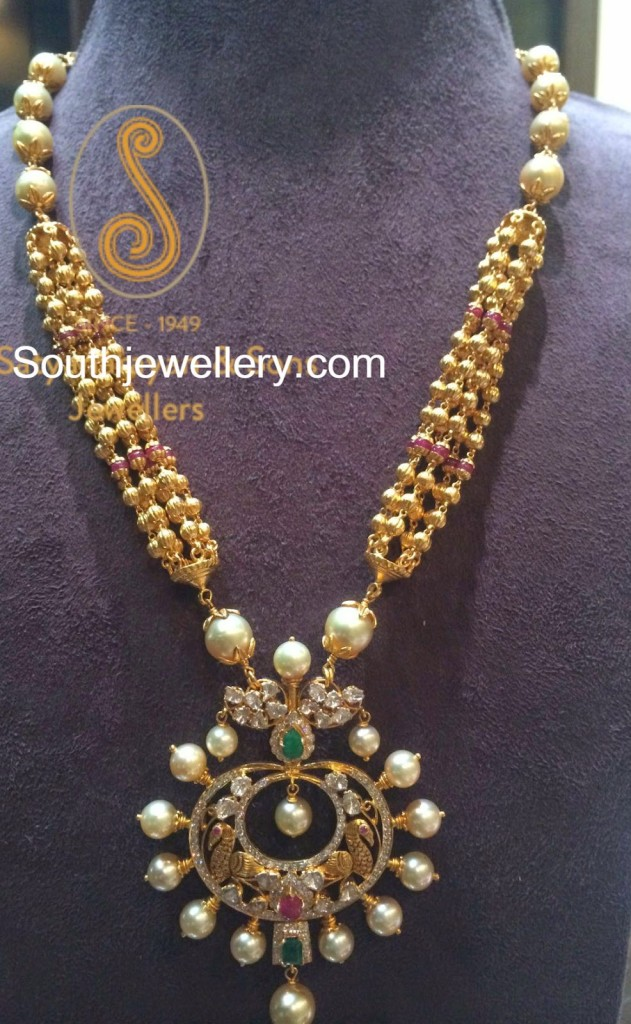 antique gold balls necklace