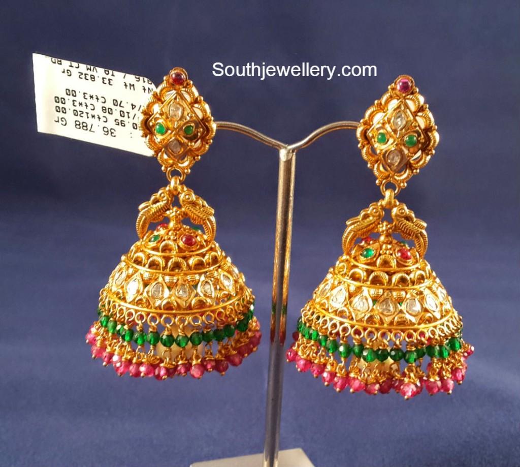 Antique Finish Pacchi Jhumkas Jewellery Designs