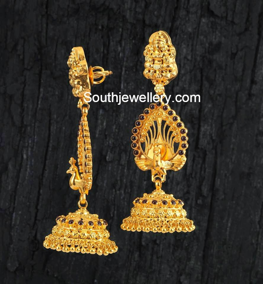 Peacock Gold Jhumkas - Jewellery Designs