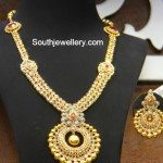 Uncut Pacchi Necklace with Chandbali Pendant and Earrings
