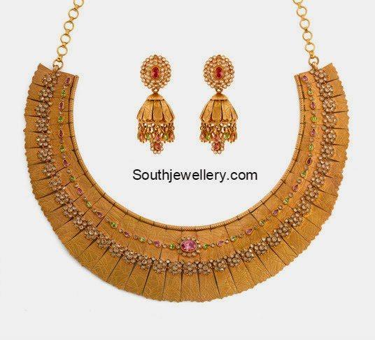 Antique Gold Uncut Diamond Necklace and Jhumkas