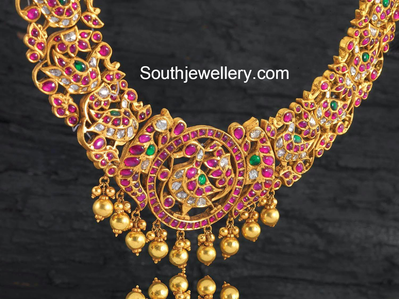 Kundan Peacock Necklace Jewellery Designs
