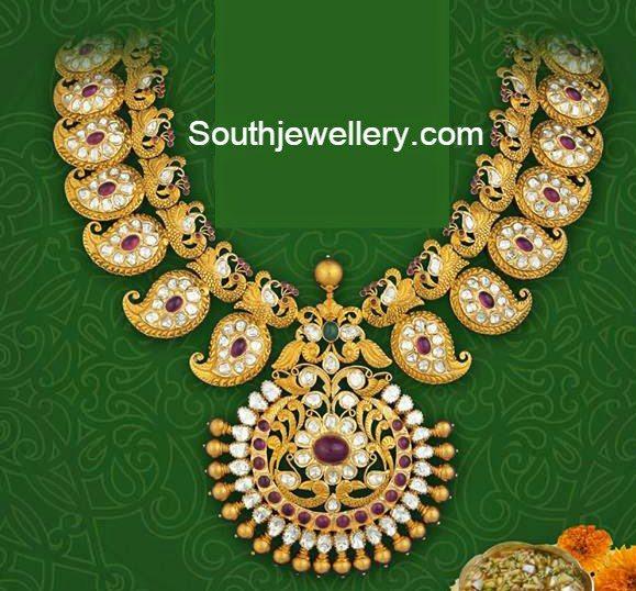 mango peacock pacchi necklace