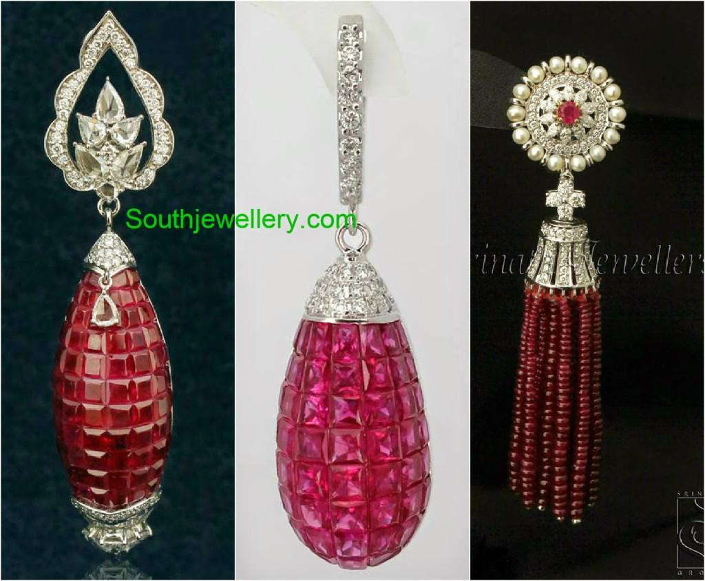 ruby diamond long earrings