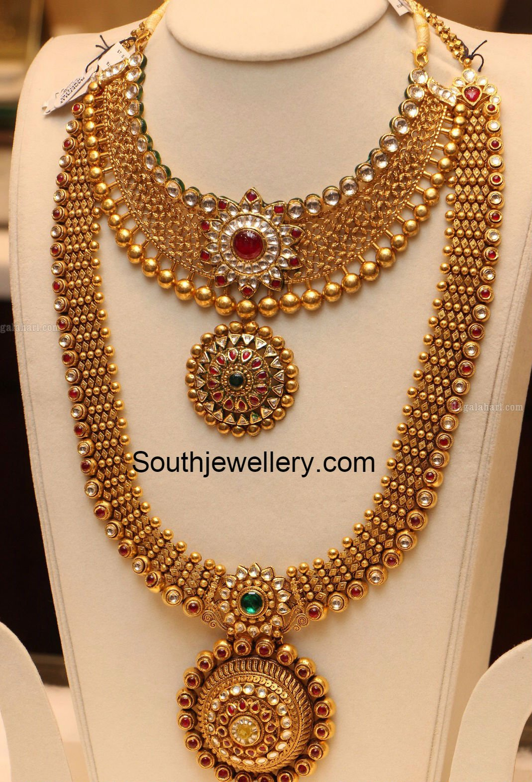 Antique Gold Necklace And Haram Set Jewellery Designs