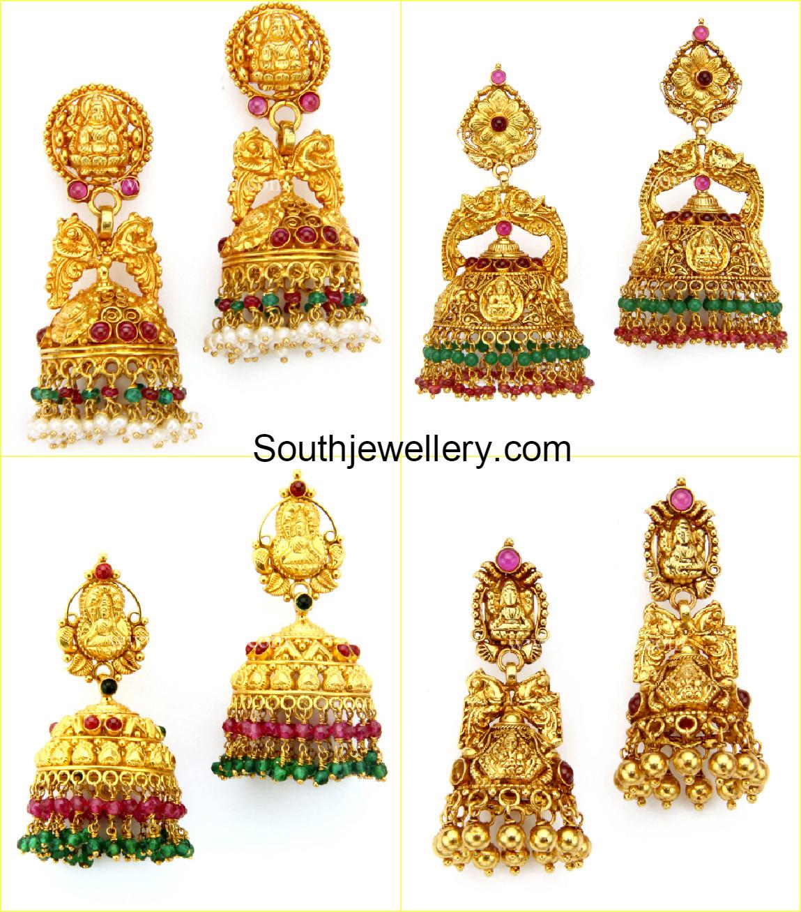 Lakshmi Temple Jhumkas - Jewellery Designs