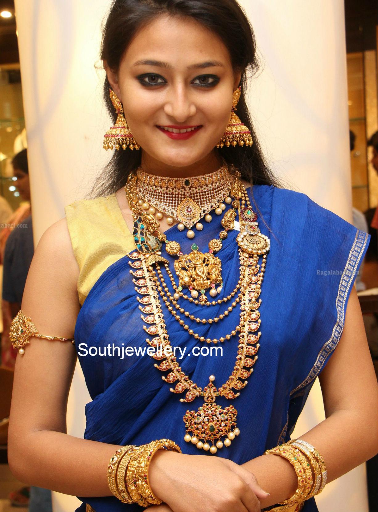 Suhasini in gundla haram jewellery designs - Manepally S Temple Jewellery Collection