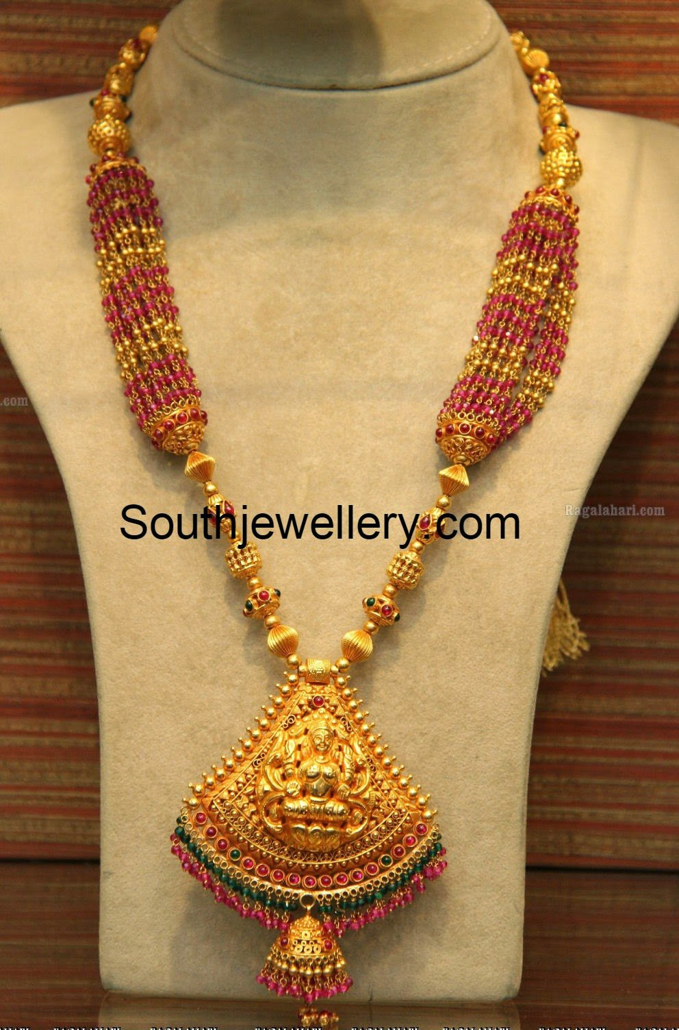Ruby Beads Necklace With Lakshmi Pendant Indian