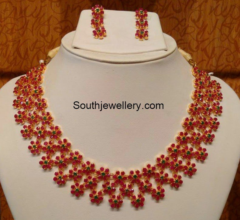 floral ruby necklace