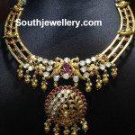Antique Gold Floral Peacock Necklace